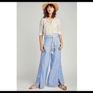 Anthropologie ett:twa linen wide slit leg pants 8
